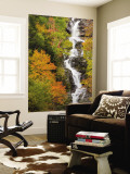 Silver Cascade Waterfall in White Mountains in Autumn, Crawford Notch State Park, New Hampshire Wall Mural by Jerry & Marcy Monkman