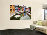 Colorful Burano City Homes Reflecting in the Canal, Italy Wall Mural by Terry Eggers