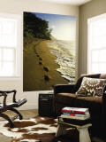 Footprints in Sand, Hanalei, Hawaii, USA Wall Mural by Douglas Peebles