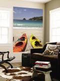 Kayaks on Beach, Hahei, Coromandel Peninsula, North Island, New Zealand Vægplakat af David Wall