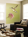 Ruby-Throated Hummingbird Feeding at Rocky Mountain Bee Plant Flower, South Texas, USA Wall Mural by Larry Ditto