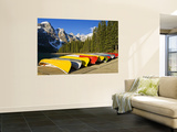 Moraine Lake and Rental Canoes Stacked, Banff National Park, Alberta, Canada Wall Mural by Larry Ditto