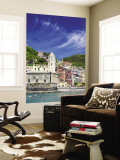Harbor and Church of Vernazza, Cinque Terre, Italy Wall Mural by Terry Eggers