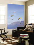 Paragliders Over Mountains, Queenstown, South Island, New Zealand Wall Mural by David Wall