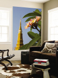 Frangipani Tree and Spire at Royal Palace Wall Mural by Antony Giblin