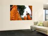 Buddhist Monks on their Morning Walk to Collect Food Wall Mural by Felix Hug