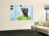 Portrait of Man Wearing Green Wall Mural by April Maciborka
