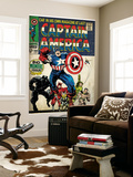 Marvel Comics Retro: Captain America Comic Book Cover 100, with Black Panther, Thor, Namor (aged) Wall Mural