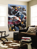 Ultimate Power No.6 Group: Captain America, Wasp, Iron Man, Thing, Quicksilver and Shadowcat Wall Mural by Greg Land