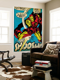Marvel Comics Retro: The Invincible Iron Man Comic Panel, Fighting and Shooting, Shoosh! (aged) Wall Mural