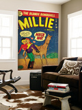 Marvel Comics Retro: Millie the Model Comic Book Cover No.34, Getting on a Horse (aged) Wall Mural