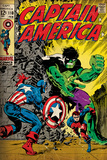 Marvel Comics Retro: Captain America Comic Book Cover #110, with the Hulk and Bucky (aged) Mural