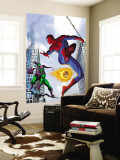 Spider-Man and Green Goblin Fighting in the City; Throwing Flaming Pumpkin Wall Mural
