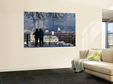 Mature Couple Enjoying Winter View of the Maritime Museum and Canary Wharf from Greenwich Park Wall Mural by Doug McKinlay