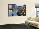 Outlook from Ponte Di Rialto Along Grand Canal at Dusk Wall Mural by David Tomlinson