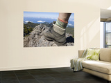 Hiker's Boot on Summit of Pico Ruivo Mountain Wall Mural by Holger Leue