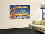 Ferris-Wheel and Roller Coaster, Pacific Park on Santa Monica Pier Wall Mural by Richard Cummins