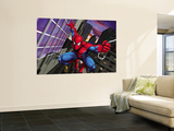 Spider-Man Swinging through the City Wall Mural