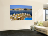 Valletta Skyline with Tourists Relaxing around Pool in Foreground Wall Mural by Jean-pierre Lescourret