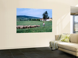 Zemplen Hills Sheep and Shepherd Wall Mural by Wade Eakle