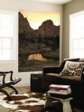 Smith Rock State Park and Crooked River at Sunset Wall Mural by Tyler Roemer