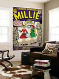 Marvel Comics Retro: Millie the Model Comic Book Cover No.100, How Millie First Met Chili! (aged) Reproduction murale
