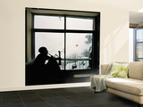 Man Smoking Water Pipe by Window, Alborz Mountain Range Wall Mural – Large by Christian Aslund