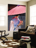 Geisha with Umbrella in Gion District Wall Mural by Rachel Lewis