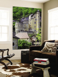 Castle of Laroque-Toirac on Steep Cliff Face Wall Mural by Barbara Van Zanten