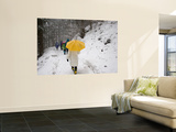 Girl with Yellow Umbrella Walking in Snow and Forest, Jigokudani Monkey Park Wall Mural by John Borthwick