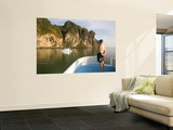 Tourist on Boat on Ao Phang Nga Wall Mural by Austin Bush