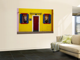 Colorful Windows and Door on Yellow House Wall Mural by Dennis Walton