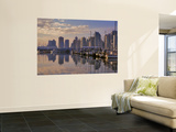 Vancouver Skyline With Boats in Harbor at Sunrise Seen From Stanley Park, British Columbia, Canada Wall Mural by Janis Miglavs