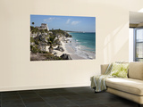 Tulum Ruins Along Caribbean Coastline Wall Mural by Sean Caffrey