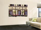 Half-Timbered Facade with Floral Window Boxes in Lyons-La-Foret Wall Mural by Barbara Van Zanten