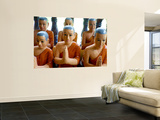 Statuettes of Buddhist Monks at Prayer Wall Mural by Philip Game