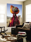 Gypsy Woman with Belongings Packed Up on Her Head Wall Mural by April Maciborka