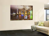 Pudong Skyline at Night, Seen from M on the Bund Restaurant Wall Mural by Greg Elms