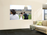 Wedding Couple Kissing with Les Invalides in Background Wall Mural by Lou Jones