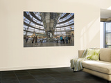Visitors Inside Glass Dome on Top of Parliamentary Building, the Reichstag, Mitte Wall Mural by Mark Daffey