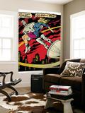 Marvel Comics Retro: Silver Surfer Comic Panel, Saving the girl (aged) Wall Mural