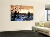 Snow-Covered Rooftops and Tower of Johann Am Imberg with Ridge of Monchsberg Wall Mural by Richard Nebesky