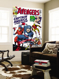 Avengers Classic No.4 Cover: Captain America, Iron Man, Thor, Giant Man and Wasp Premium Wall Mural by Jack Kirby
