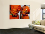 Orange-Robed Monks at Phra Pathom Chedi, the World's Talles Buddhist Monument Wall Mural by Antony Giblin