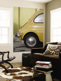 Yellow Fiat 500 Parked Against Wall, Gallipoli Wall Mural by David Borland