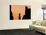 Statue of Guzman El Bueno with Illuminated Hotel Sign at Sunset from Plaza Santo Domingo Wall Mural by David Borland