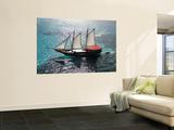 Aerial of Jolly Pirate Tourist Sail Boat Near Palm Beach Wall Mural by Holger Leue