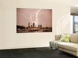 Lightning Storm over Perth Skyline from Matilda Bay Wall Mural by Orien Harvey