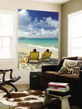 Couple Relaxing on Beach at Lanikai on Windward Side of Oahu Wall Mural by Ann Cecil
