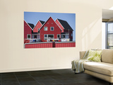 Woman Drying Laundry on Red House Wall Mural by Holger Leue